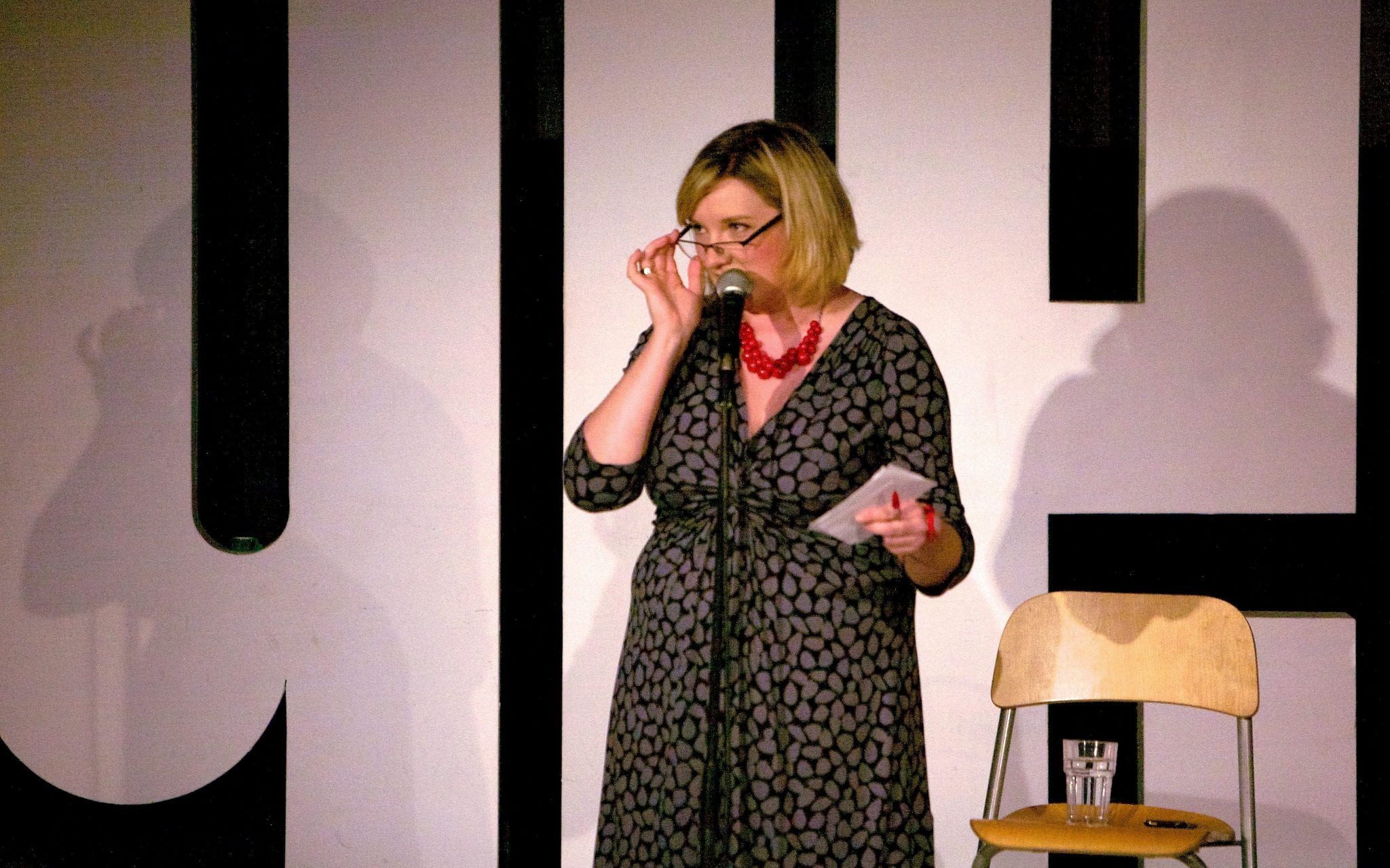 Sarah Millican on stage at The Glee