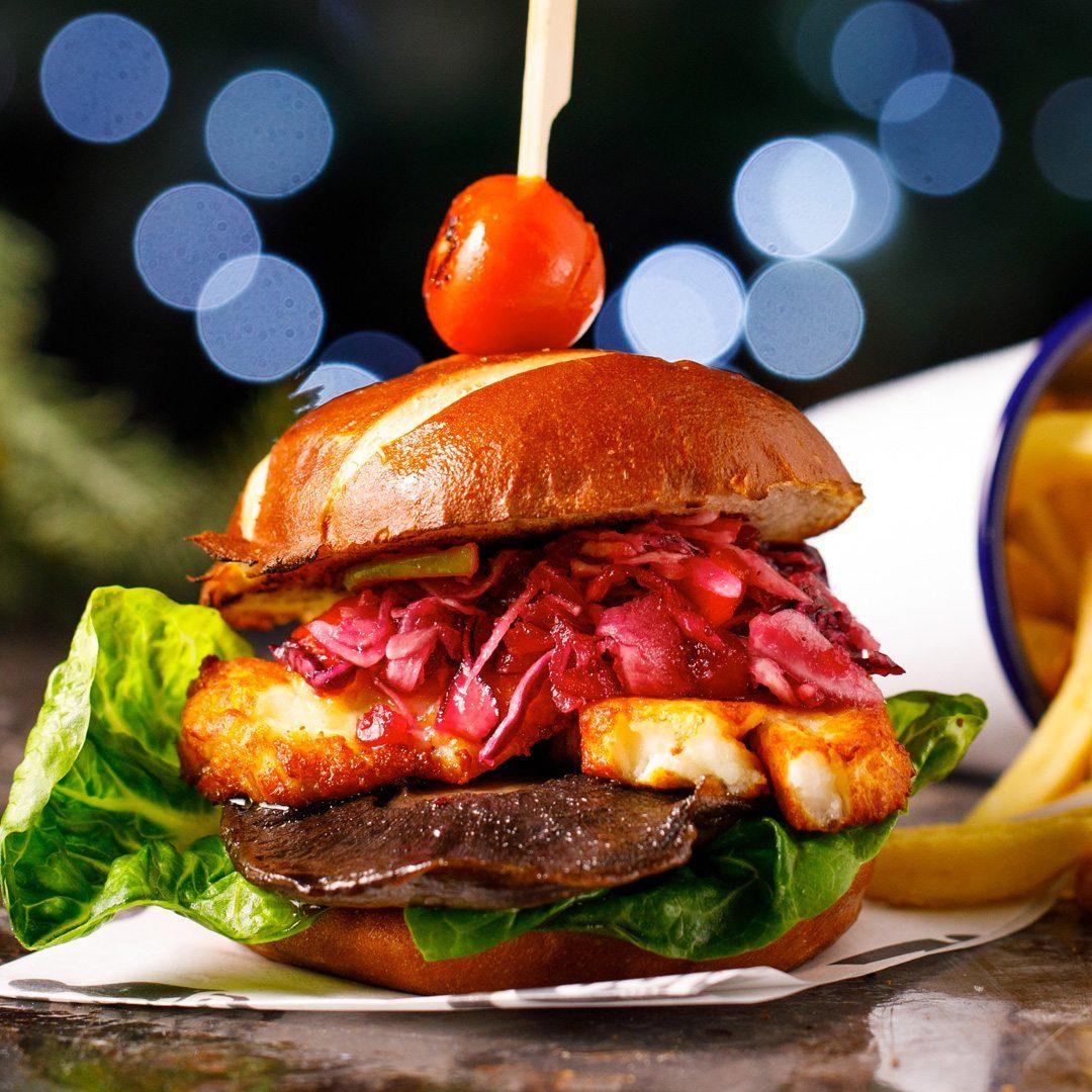 Grilled Mushroom & Halloumi Burger